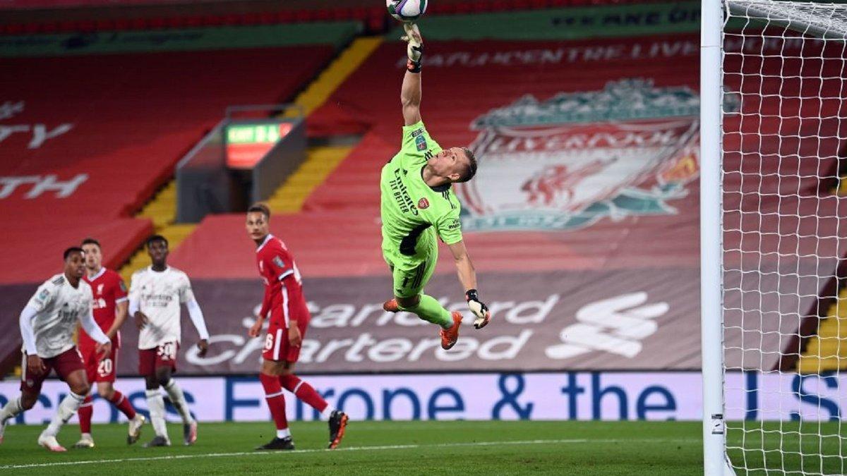 Арсенал благодаря куражу Лено одолел Ливерпуль в серии послематчевых пенальти и пробился в четвертьфинал Кубка лиги
