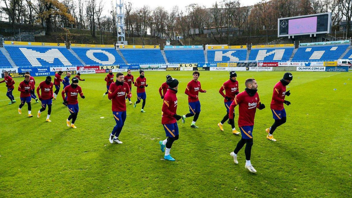 Динамо – Барселона: каталонцы провели тренировку на стадионе имени Лобановского
