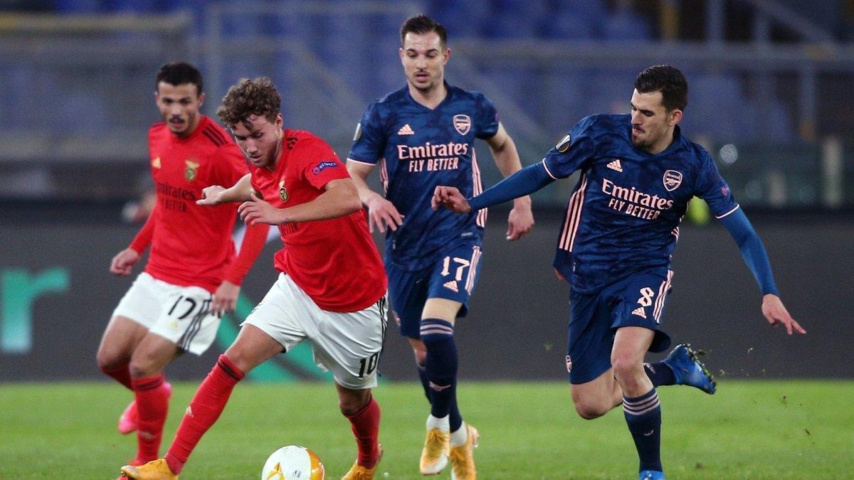 Ліга Європи: Арсенал розписав нічию з Бенфікою, Наполі без шансів програв Гранаді, перестрілка Антверпена і Рейнджерс