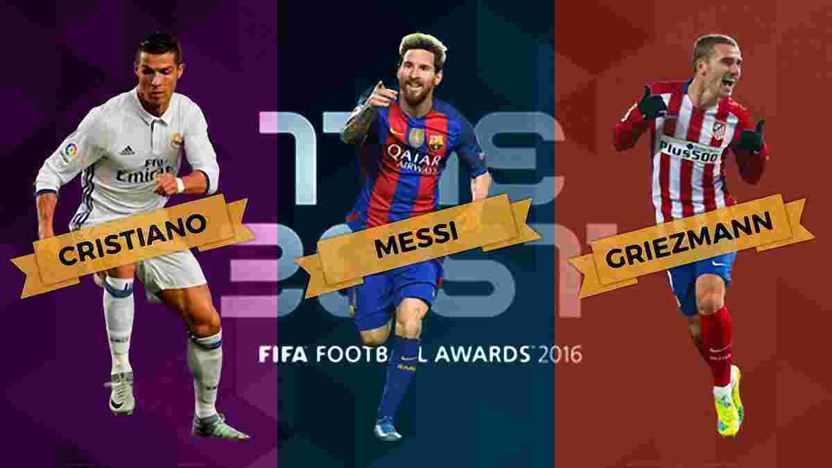 ФІФА оголосила трьох претендентів на звання найкращого гравця року