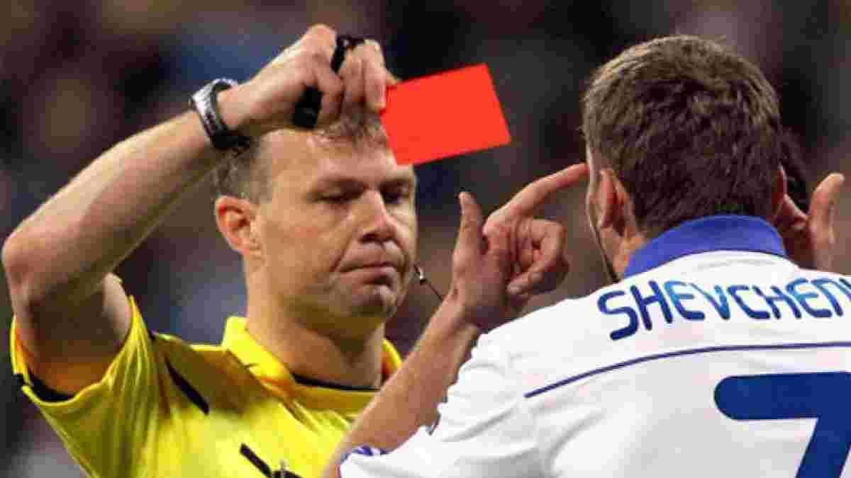 """Шахтар – Ліон: матч судитиме фартовий для """"гірників"""" арбітр, який показав Шевченку єдину червону картку в його кар'єрі"""
