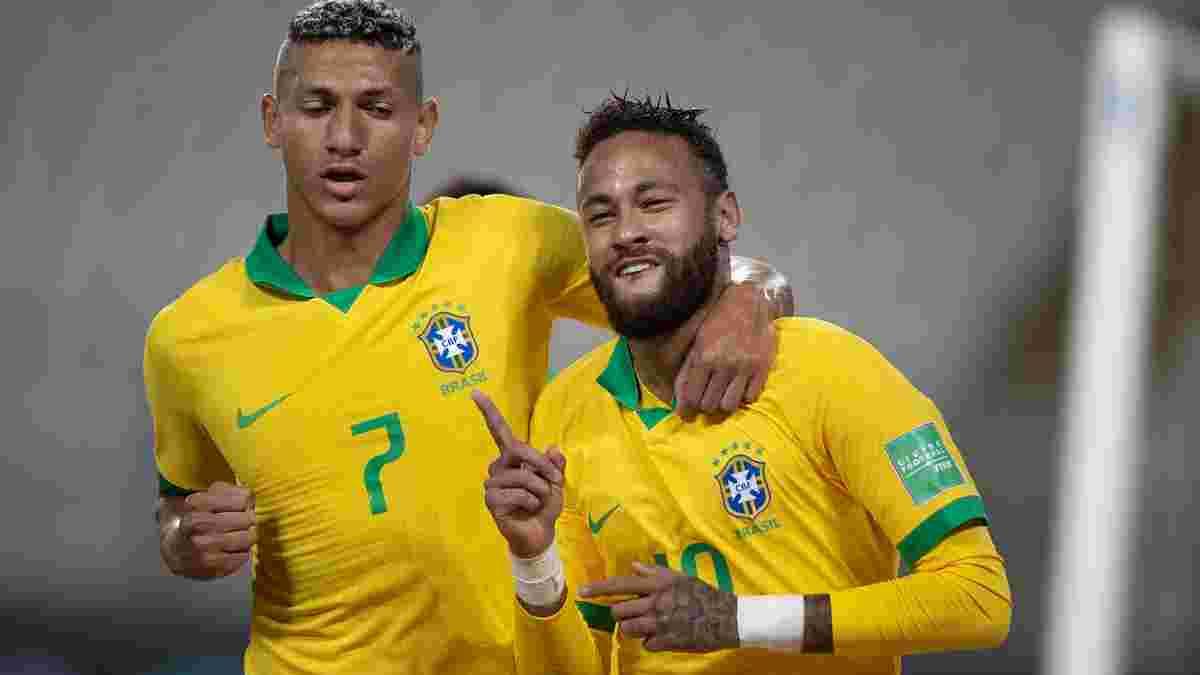 Бразилия благодаря хет-трику Неймара и удалению экс-динамовца Самбрано одолела Перу, Колумбия спаслась в матче с Чили
