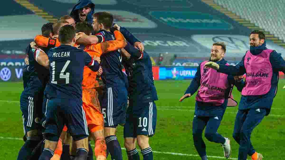 Игроки сборной Шотландии спели для вратаря, который отраженным пенальти вывел команду на Евро-2020