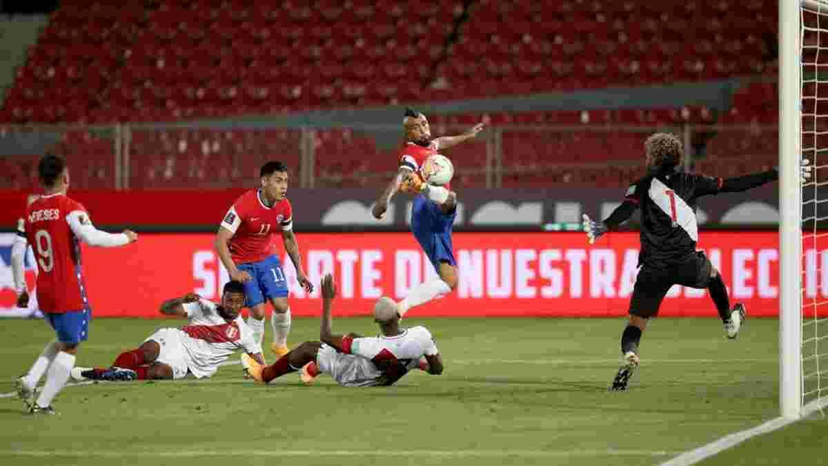 Сенсационный дубль Видаля в видеообзоре матча Чили – Перу
