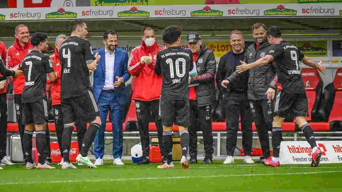 """Повторение """"вечного"""" рекорда и эффектное поздравление для Левандовски в видеообзоре матча Фрайбург – Бавария – 2:2"""