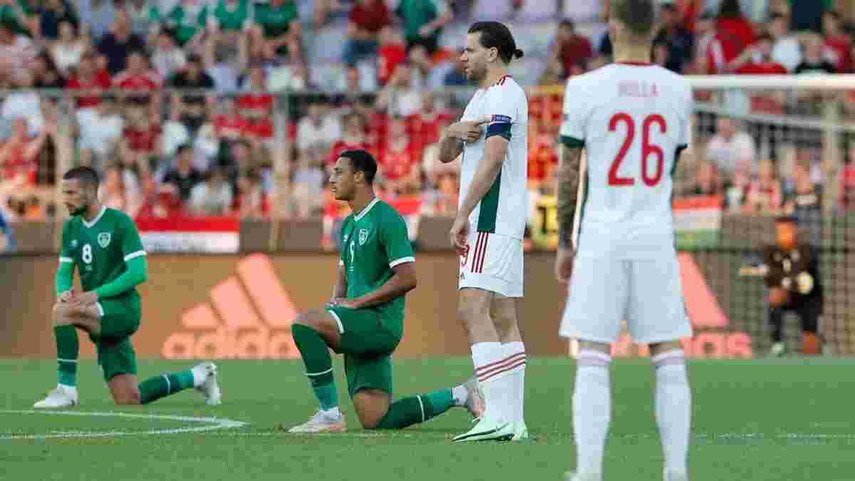 Угорські фанати освистали збірну Ірландії, яка вперто продовжує ставати на коліно перед матчами