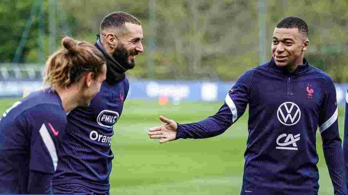 Бензема та Грізманн не тренувались у загальній групі збірної Франції