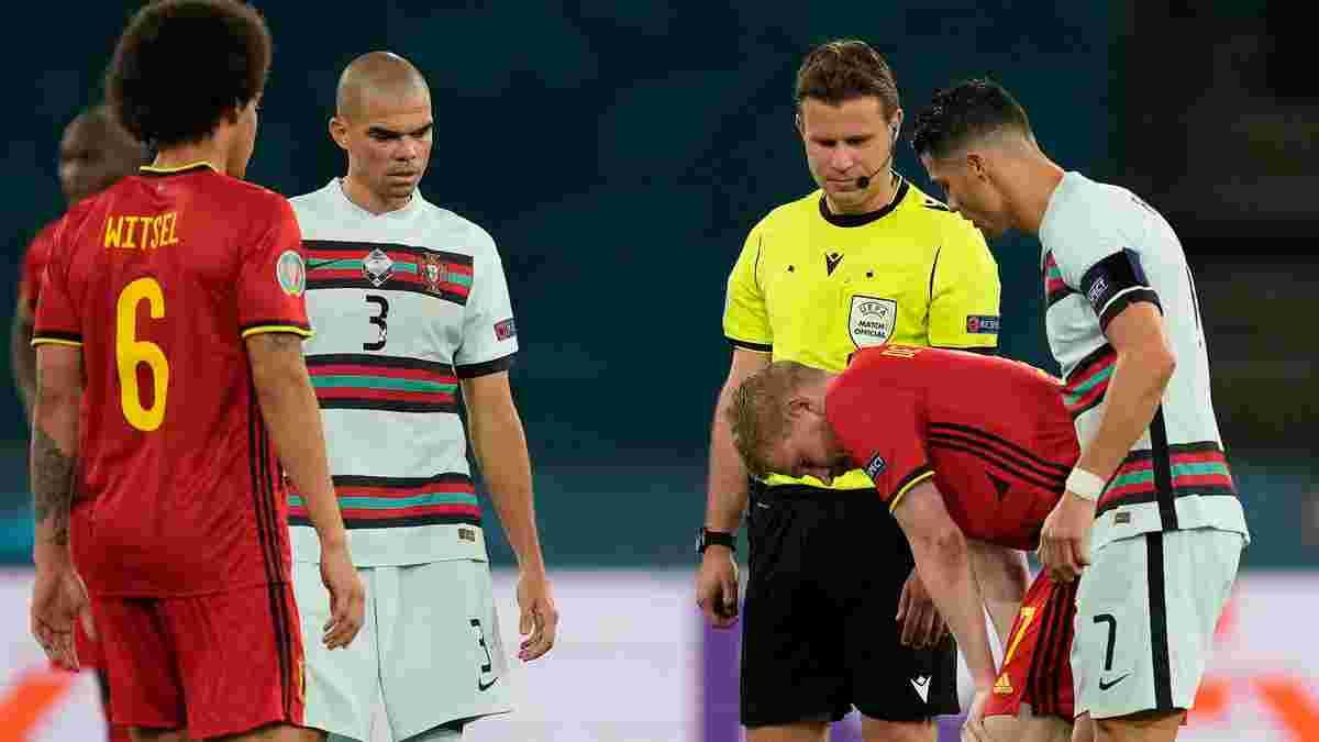 Бельгия – Португалия: де Брюйне не смог доиграть матч из-за травмы