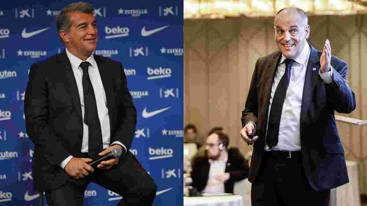 """""""У него больная навязчивая идея навредить"""": Лапорта ответил на обвинения Тебаса по поводу ухода Месси"""