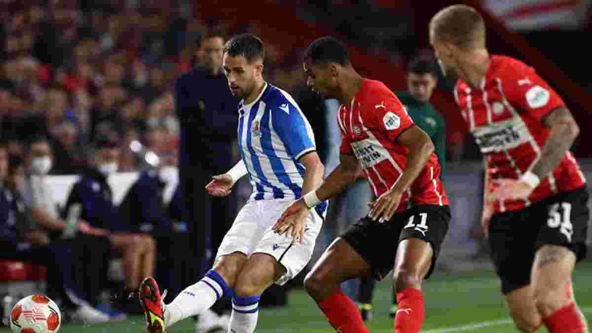 Лига Европы: Реал Сосьедад расписал боевую ничью с ПСВ, Лион разобрался с Рейнджерс, Олимпиакос переиграл Антверпен