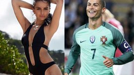 Роналду пригласил на матч Латвия – Португалия сексуальную модель, которая с радостью пришла посмотреть на Криштиану