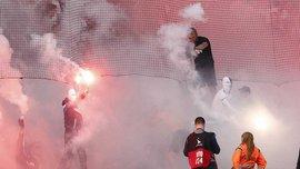 Фанаты Копенгагена устроили массовую драку с полицией во время дерби против Брондбю