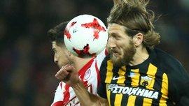 Чигринский забил гол в ворота Олимпиакоса и помог АЕКу победить