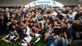 Игроки ПАОКа одели маски с изображением Саввиди после победы в Кубке Греции