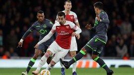 Лига Европы: Арсенал сыграл вничью со Спортингом и вышел в плей-офф, Олимпиакос разбомбил Дюделанж