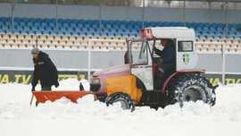 Олександрія героїчно рятує стадіон від наслідків снігопаду перед матчем з Динамо