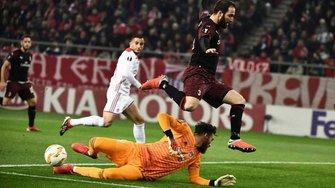 Лига Европы: Милан в драматичном матче проиграл Олимпиакосу и покинул турнир, Арсенал одолел Карабах