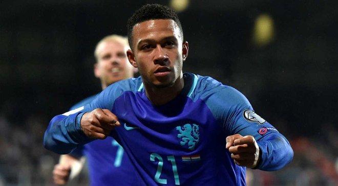 Депай впервые в карьере отметился дублем за сборную Нидерландов, забив шикарный штрафной