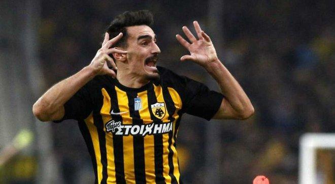 Игрок АЕКа Христодулопулос забил феноменальный гол со штрафного в ворота Олимпиакоса