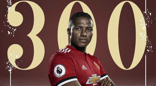 Валенсія став 1-м гравцем не з Європи, який зіграв 300 матчів за Манчестер Юнайтед