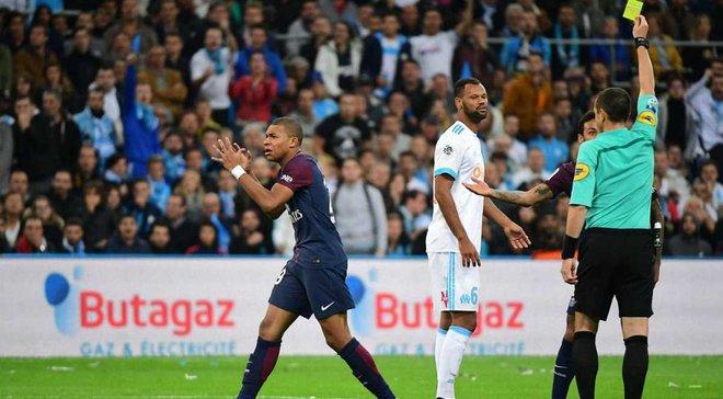 Мбаппе отримав безглузду жовту картку через непризначений пенальті за зухвалу гру рукою футболіста Марселя