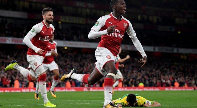 18-летний нападающий Арсенала Нкетия забил дебютный гол за клуб первым касанием после выхода на замену