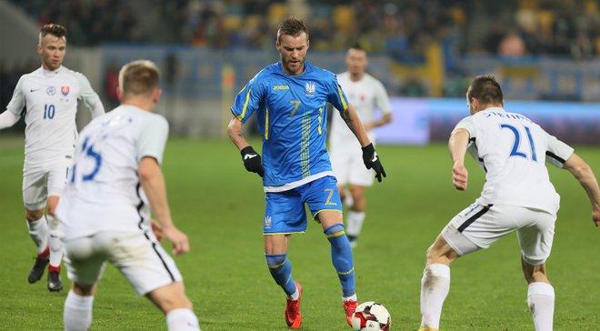 Ярмоленко підтримав Сидорчука, святкуючи гол у ворота Словаччини