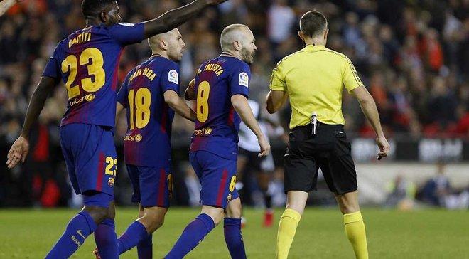 Голова Комітету арбітрів Федерації футболу Іспанії позитивно оцінив роботу рефері, який не помітив гол Мессі у ворота Валенсії