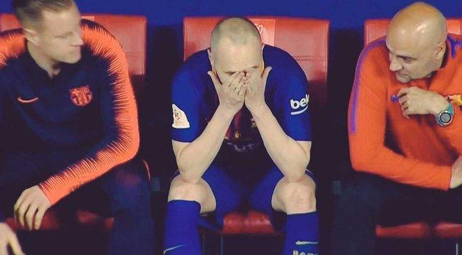 Иньеста расплакался после замены в финале Кубка Испании и помпезной овации фанатов