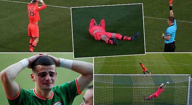 Голкипера сборной Ирландии удалили в четвертьфинале Евро-2018 U-17 после отраженного пенальти и довели до слез – такого вы еще не видели