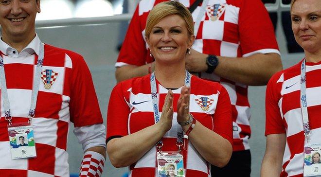 ЧМ-2018: Президент Хорватии неистово праздновала победу своей сборной над Россией в раздевалке команды