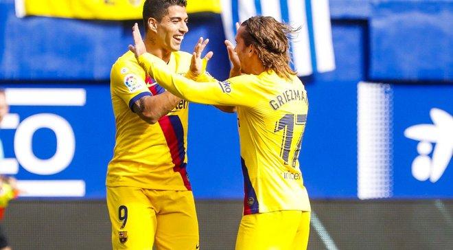 Барселона на выезде разгромила Эйбар и возглавила турнирную таблицу Примеры