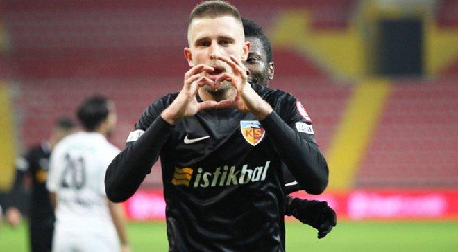 Кравец забил дебютный гол в сезоне – украинец помог Кайсериспору одержать победу в матче Кубка Турции